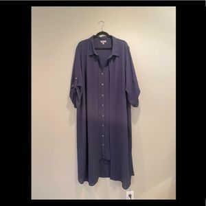 Navy Blue Laura Plus Dress with attached Cover